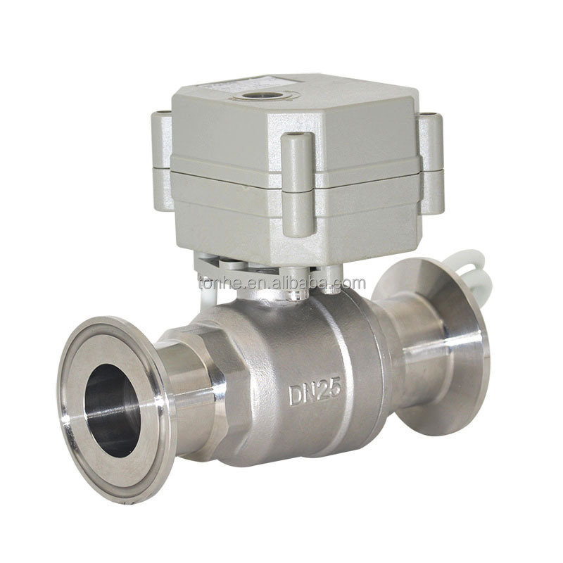 Sanitary Electrical Ball Valve tri-clamp connection and SS304/316 body