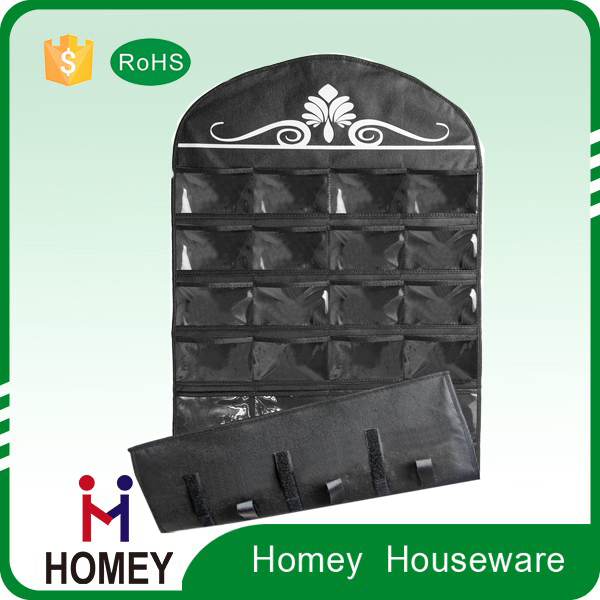 Jewelry Hanging Non-Woven Organizer Holder 32 Pockets 18 Hook and Loops - Black