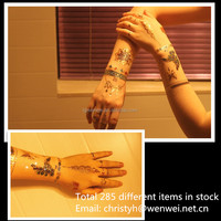 gold and silver metallic body tattoo and hair tattoo sticker