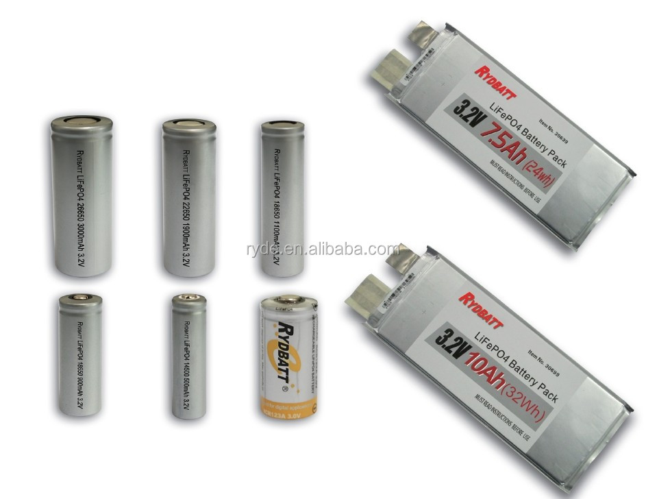 3.2V Lifepo4 Battery IFR 14500 17280 32650 22650 26650 1900mah 3000mah
