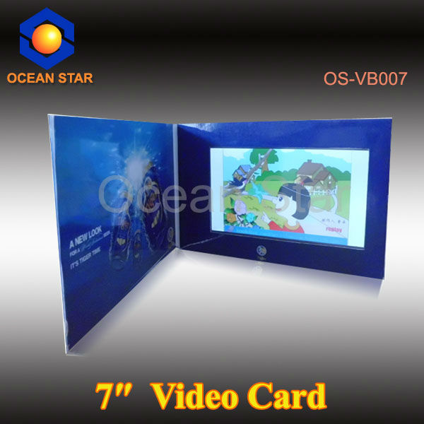 7 inch TFT screen video greeting card,lcd video in print booklet brochure