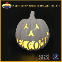 Halloween white porcelain craft ceramic pumpkin for LED