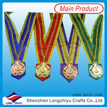 Custom gold silver bronze catering medal for chef with heavy chain and wide cloth ribbon