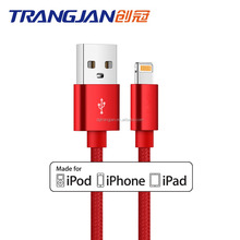 Chinese red nylon braided original MFi certified usb Cable for iphone7