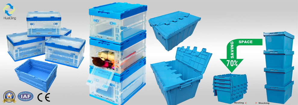 wholesale nestable and stackable storage plastic boxes with lid container for sale
