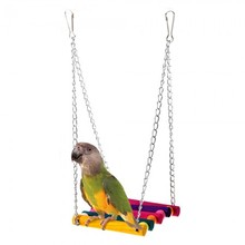 Parrot Bird Pet Wooden Hanging Swing Birdcage Play Toy Colorful