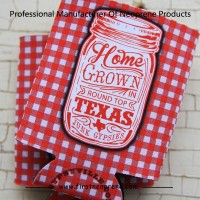 Red Plaid Milk Bottle Kitchen Home Grown Texas Bottle Can Cooler