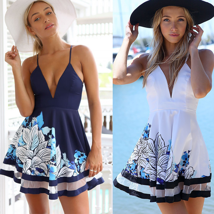 2016 Women Sexy Summer beach Chiffon sundress Sleeveless Braces Cocktail Short Mini Dress
