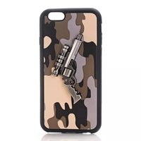 2016 New Stylish Camouflage 3D Guns Army Blue Cool Modern TPU Back cover Case for iPhone 6 6 plus CA041
