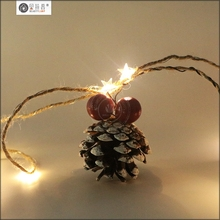 15 LEDs transparent star shape copper wire christmas string lights with usb rechargeable box