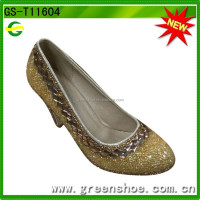 Gold crystal high-heel women shoes