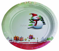 "9"" Disposable Christmas party custom paper plates and trays wholesales"
