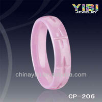 pink ceramic ring, girls gift in new year from yibi jewelry
