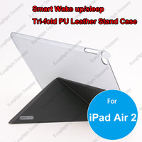 Tri-fold Super Slim Stand Smart Leather + Crystal Clear Hard Plastic Case for iPad Air 2