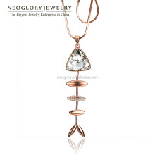 Rose Gold Plated Czech Rhinestone Fish Bone Shaped Pendant Necklace Made With Swarovski Elements