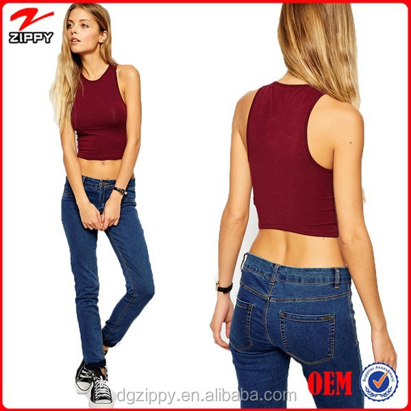 Stretch cotton jersey ladies crop top crew neckline crop top plain