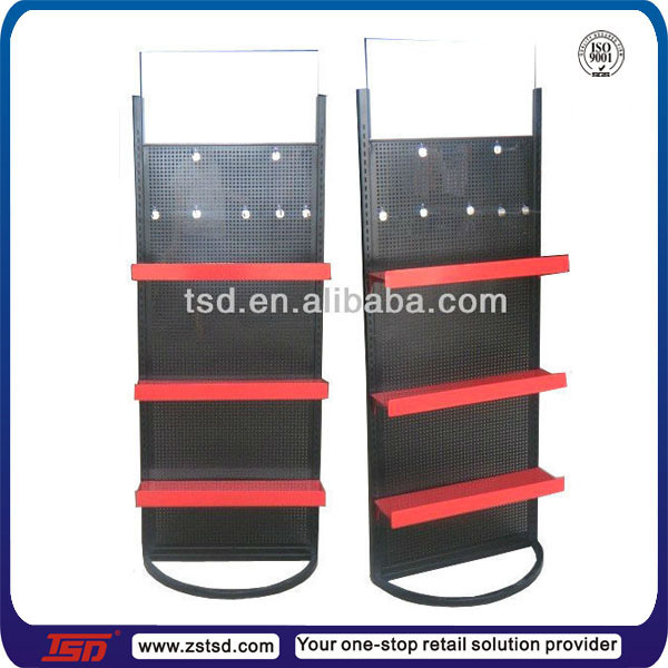 TSD-M379 Retail store free standing custom design drawing metal pegboard display stand and rack for promotion