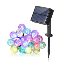 Waterproof 22FT 30 LED Crystal Ball Solar LED Christmas Lights Outdoor Tree House and Fence