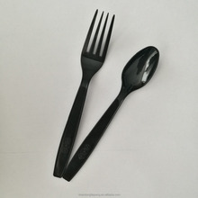 Plastic black fork and spoon set,disposable plastic spork