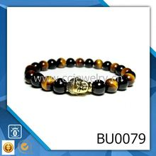 2016 new products buddha black agate and tiger eye real stone jewelry wholesale