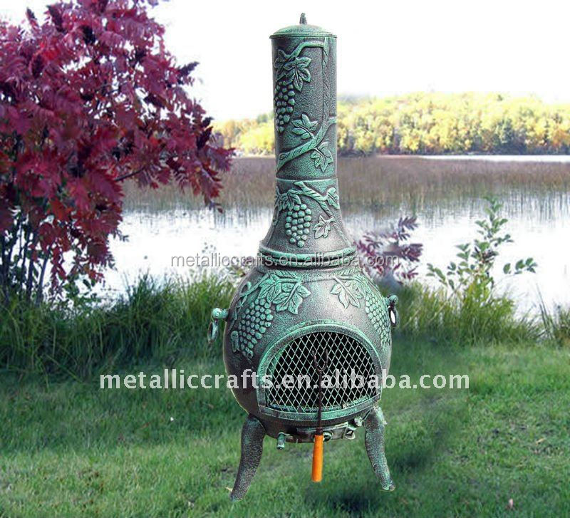 cast iron cast aluminum 2015 hot sale new design Grape Chiminea Outdoor Fireplace