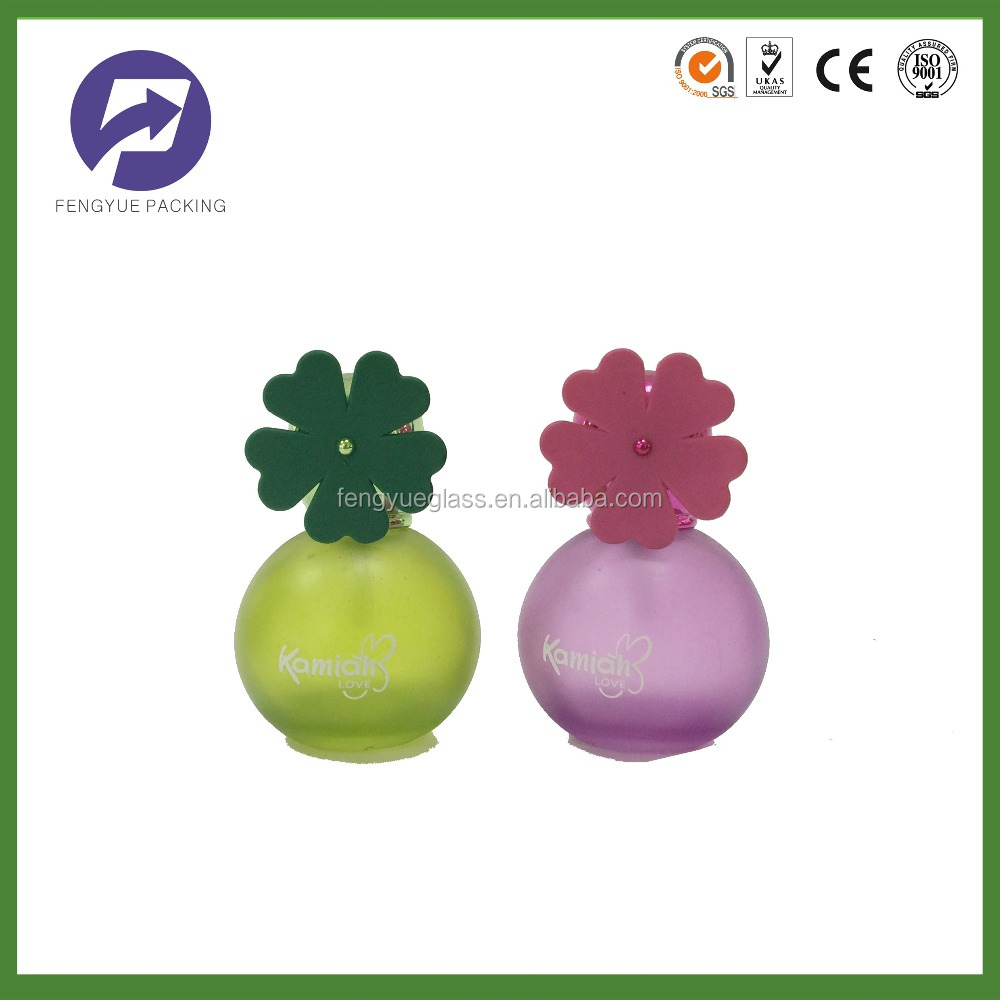 30ML Frosted Round Glass Perfume Bottle with Sunflower Cap