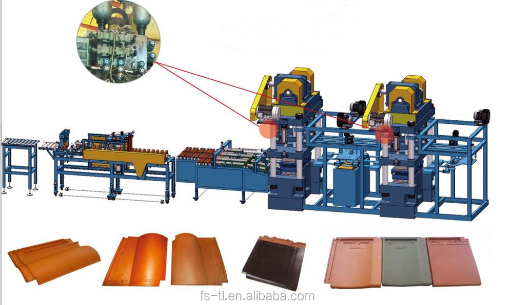 Supply 2 stage 3closed molding twice pressing roofing tile making machine unit