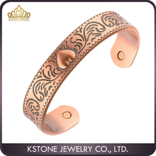 KSTONE Latest Design Heart Copper Bangle healthy magnetic copper heart cuff bracelet bangle