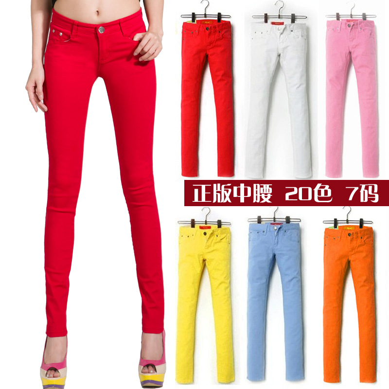 new wear leggings female stretch slim candy colored jeans slim pencil pants