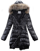 Wholesale Cheap Stylish Women Black Long Down Coat With Fur Collar
