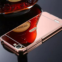 Luxury Metal Frame Chrome Mirror Back Phone Cover Case For VIVO Y35
