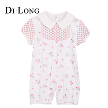 Short Sleeve Newborn Baby Girl Clothes Crotchless Romper Kids Jumpsuit