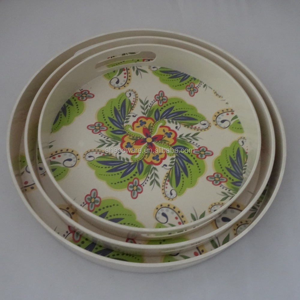 New Style Bamboo Fiber Round Serving Tray