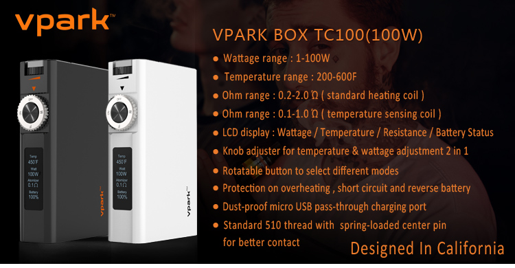Vpark 2016 new products patent 100w box mod temperature control box mod vapor box mod ecig mods 2016