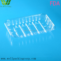 biodegradable wholesale FDA certificate transparent pet plastic packing tray for fruits/vegetable