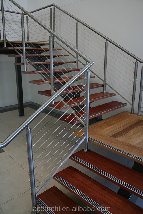 Stainless steel decking wire balcony railing with 1*19 strand wire rope