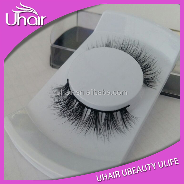 Hand made strip fur real Mink Eyelash high quality plastic case for eyelashes