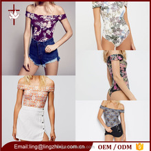 Floral Print Off Shoulder Sexy Women Tight Bodysuit