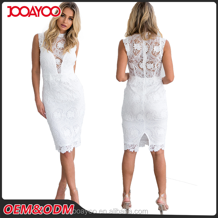 2017 New Fashion Customed Sleeveless White Midi Brand Pretty Women Lace Dress