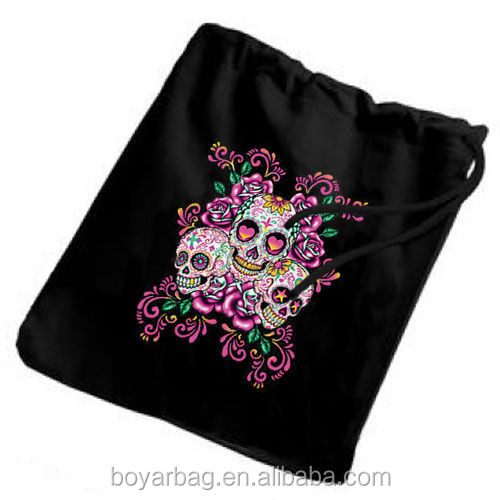 Sugar skulls roses small drawstring tote trick or treat canvas gift bag