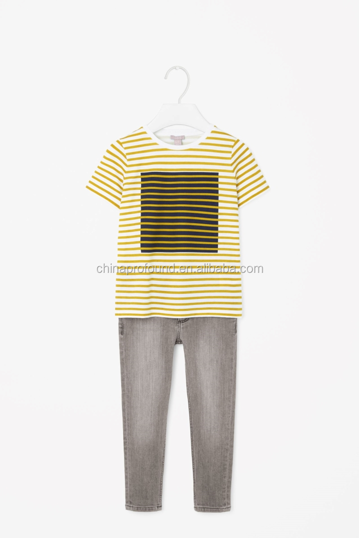 soft cotton jersay all-over flat knit stripe t-shirt clothes kids t-shirt wholesale