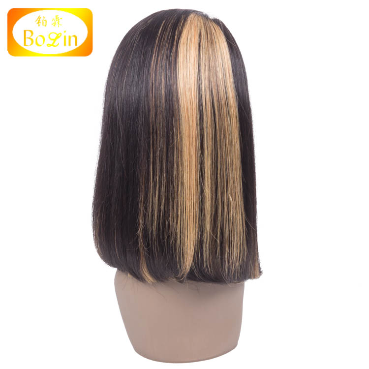 Real Brazilian Hair China Suppliers Mixed Color Full Lace Human Hair Wig Bob Style Brazilian Hair Wig