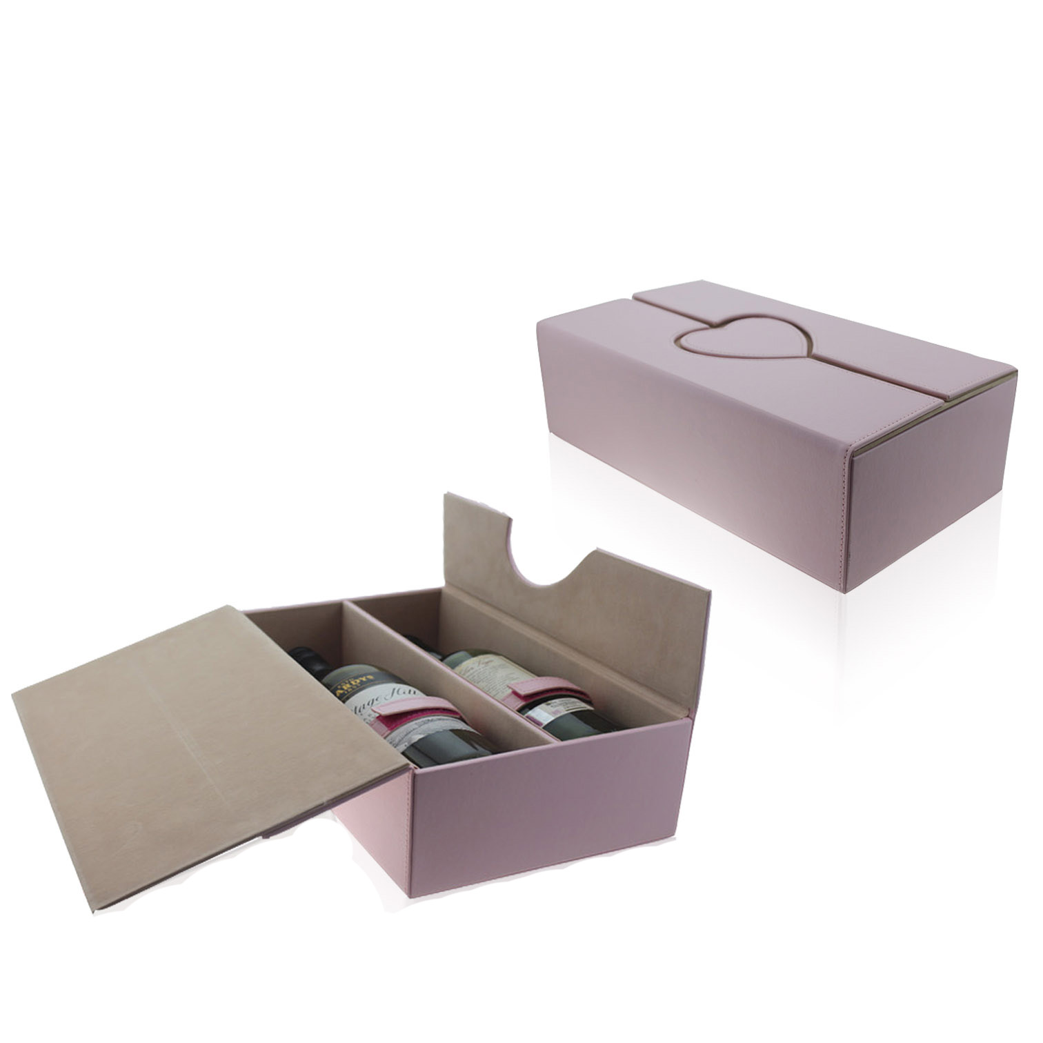 Chinese supplier two bottles leather wine gift box
