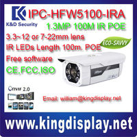 DAHUA cctv NETWORK camera IPC-HFW5100-IRA 100 meters IR 1.3 MEGAPIXEL POE onvif2.0 support safary browser IE10 CCTV POE