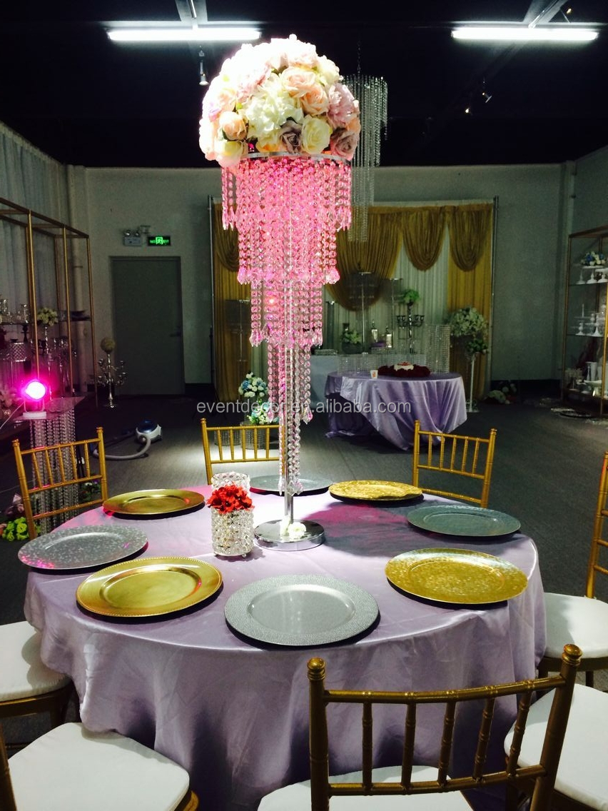 5tiers crystal silver table centerpiece chandelier table for Buy wedding centerpieces