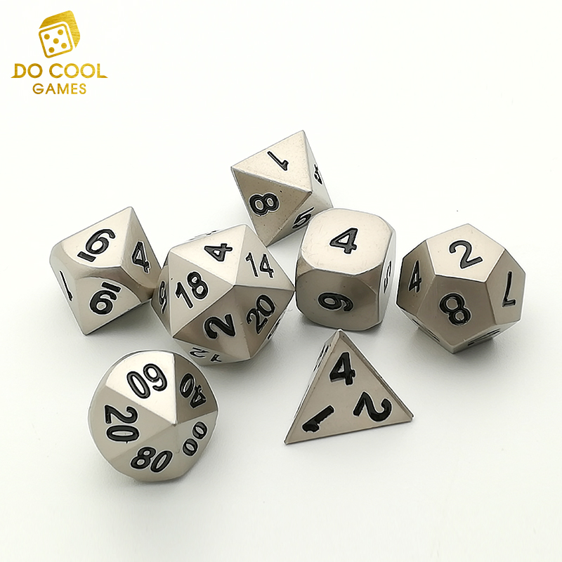 Silver Polyhedral play metal Dice for tabletop gaming