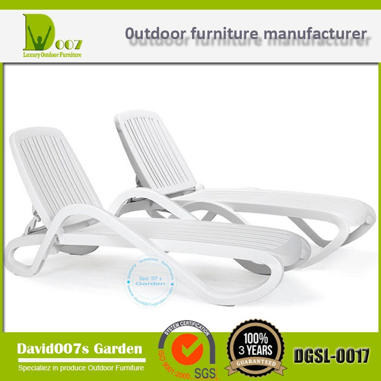 Hotel furniture white plastic sun lounger pool chairs DGSL-0017