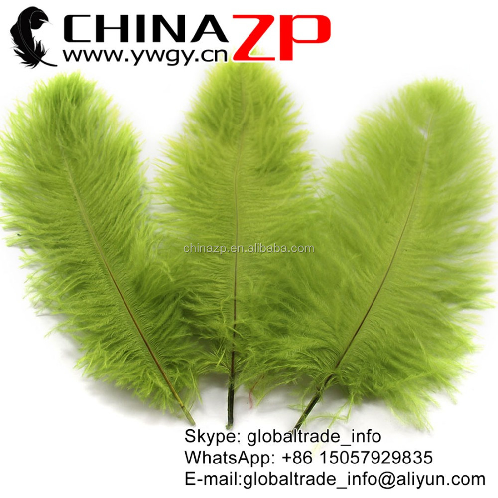 CHINAZP No.1 Supplier in China Factory Exporting Wholesale from 10'' to 12'' Oliven Green Ostrich Feathers for Sale