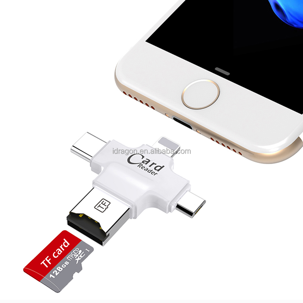 The Newest 4 in 1 smart card reader for iPhone type c card reader for android otg
