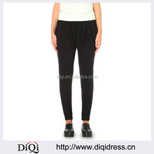 Wholesale Women Apparel Classic Black Fitted Stretch-jersey Jogging Bottoms(DQE0251P)